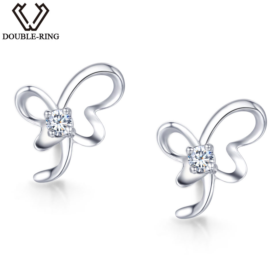 DOUBLE-R Real Diamond Earrings 0.04ct Women Butterfly 925 Sterling Silver Stud Earrings Valentine'S Day Gift Diamond Jewelry dazzle butterfly prints diamond paintings