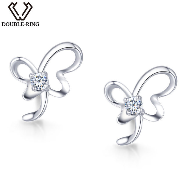 DOUBLE-R Real Diamond Earrings 0.04ct Women Butterfly 925 Sterling Silver Stud  Earrings Valentine S Day Gift Diamond Jewelry 7ca5d4bdb1