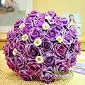 Красивый Фиолетовый Свадебный Букет Искусственный Цветок Розы Букет де mariage 1 Шт. Бесплатная Доставка buque де noiva 2017