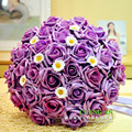 Hermosa Púrpura Ramo de La Boda Artificial Flor de Rose Bouquet de mariage 1 Unidades Envío Gratis buque de noiva 2017
