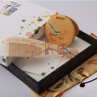 Free shipping China brand comb,Carpenter Tan comb wooden comb gift for couple