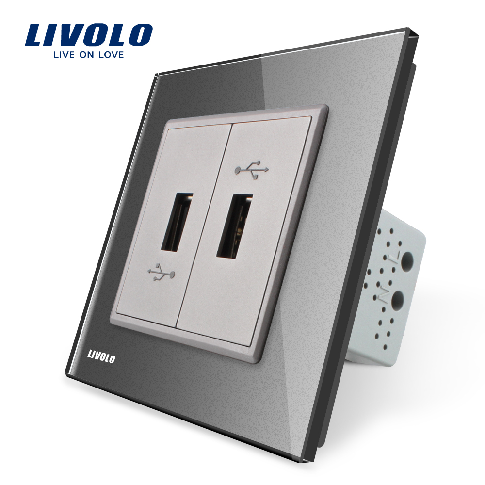 Livolo, Gray  Crystal Glass Panel, One Gang USB Plug Socket / Wall Outlet VL-C792U-15 atlantic brand double tel socket luxury wall telephone outlet acrylic crystal mirror panel electrical jack
