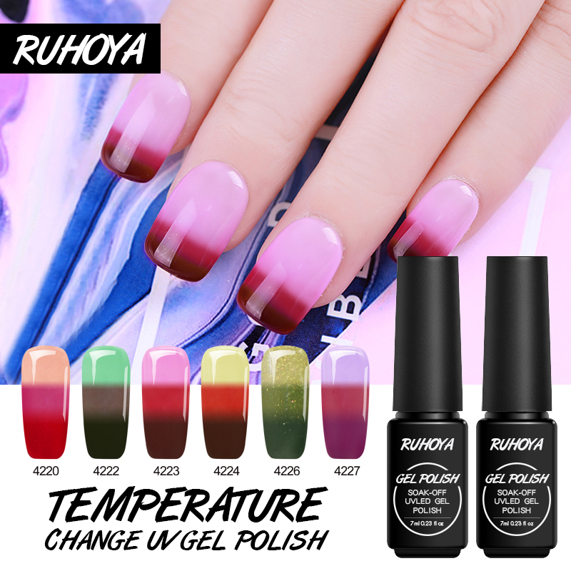 Nail Gel Beauty & Health Ruhoya 24 Colors Hybrid Chameleon Gel Varnish Temperature Changing Gel Painting Soak Off Uv Led Thermal Mood Change Nail Polish Volume Large