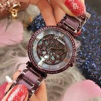 Fashion Women Flower Rhinestone Wrist Watch Luxury Casual Rose Gold Steel Belt Quartz Watch Relogio Feminino