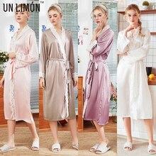 UNLIMON New Womens  Half Sleeve Slik Sleepwear Kimono Robe