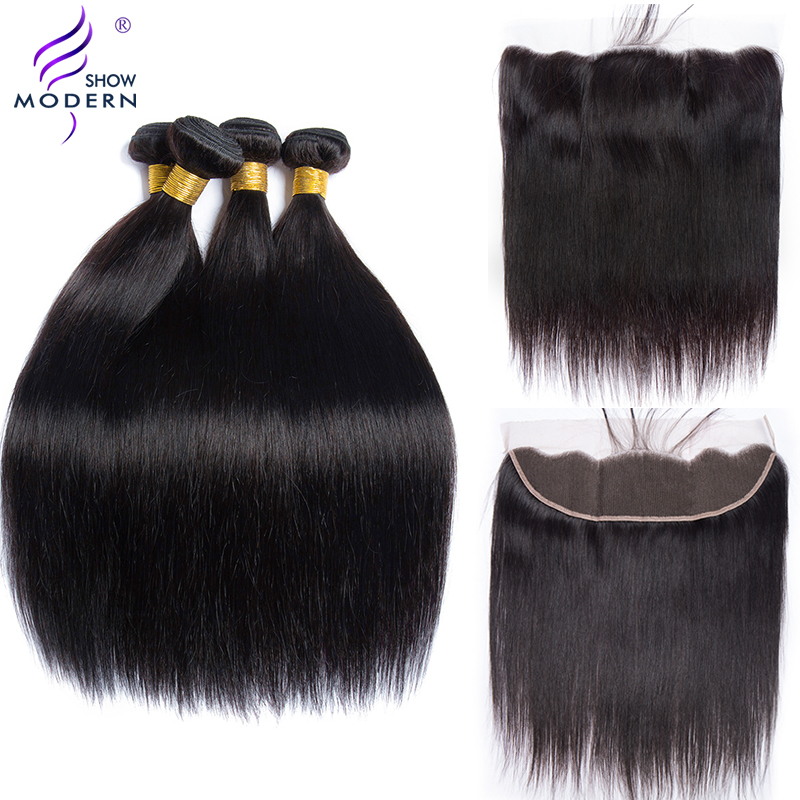 Modern Show Malaysian Straight Hair 13 4 Lace Frontal Closure with Bundles Remy Human Hair 3