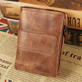 Hot Sale!Top quality Retro Fashion Burnish Genuine Leather Men Mini Purse Wallet coin pocket purse card Free shipping