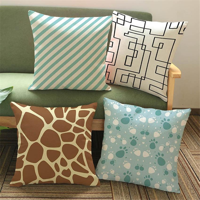 animal skin chair covers folding fishing tackle box ᗜ lj pattern cushion cover simple geometric cotton linen pillow sofa bed pillowcase home decor cojines