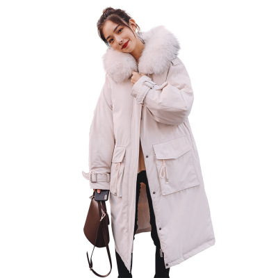 Women s winter Cotton jacket fur collar hooded Overcoat Long section high quality thick warm parka