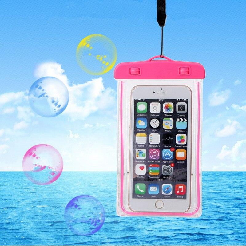 Универсальный Водонепроницаемый сумка Coque чехол для iPhone 6 5S 7 Plus для Samsung Huawei чехол Плавание Водонепроницаемый Телефонные Чехлы флуоресцентн...