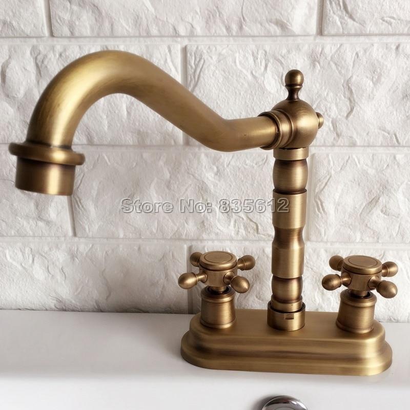 Bathroom Basin Faucet Dual Handle Antique Brass Vessel Sink Mixer Faucets 2-hole Deck Mounted Wan066 phasat 907 retro arched 3 hole dual handle bathroom sink faucet antique brass