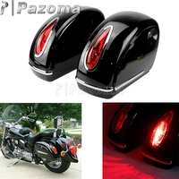 2pcs Motorcycle Hard Saddlebag Side Boxes Case Luggage Tank w/ Retro Oval Shaped Tail Light For Harley Roadster Road King Custom