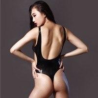 Women's Sexy 200D Hollow Latex Backless Bodysuit High Cut BIkini Catsuit Thong Body Suits For Women Sleeveless Club Wear Black