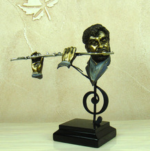 Abstract Flute Player Sculpture Handmade Resin Piper Musician Bust Statue Gift and Craft Ornamernt for Home and Studio Decor