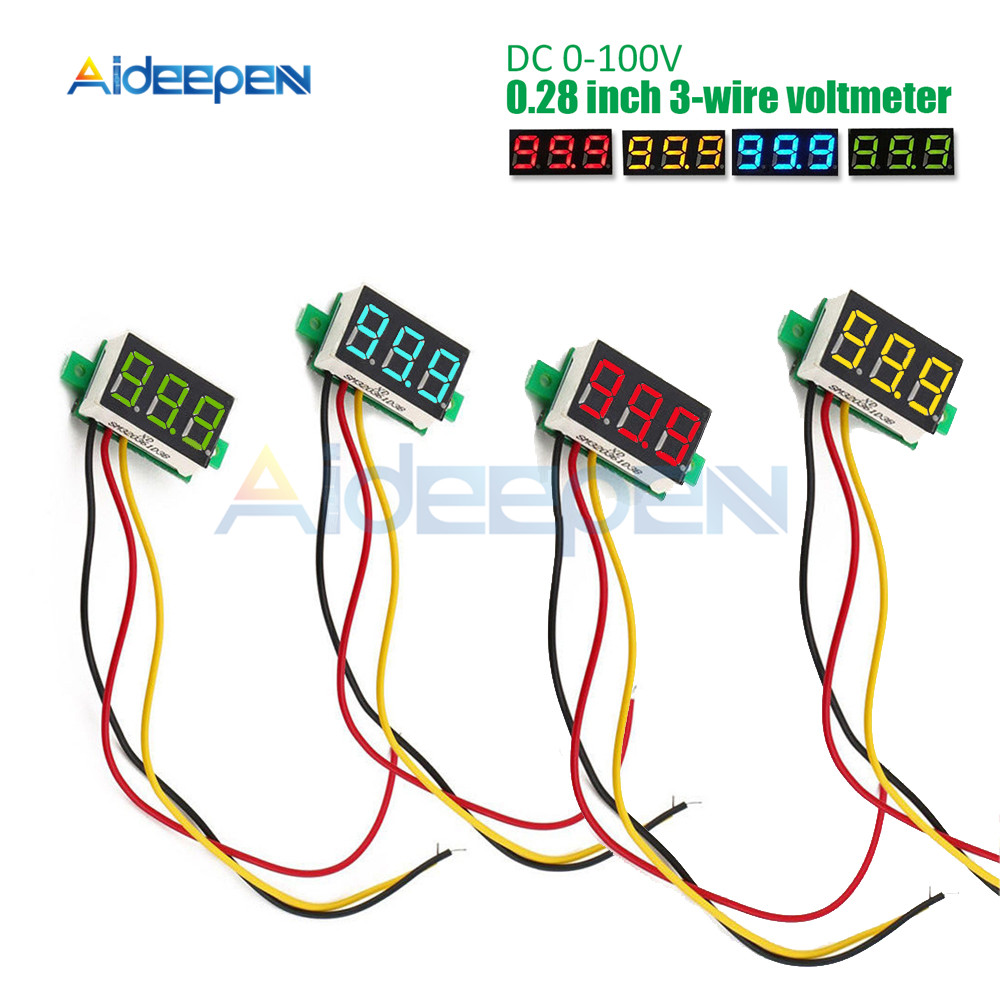 0 28 inch DC LED Digital Voltmeter 0 100V Voltage Meter Auto Car Mobile Power Voltage Tester Detector 12V Red Green Blue Yellow in Voltage Meters from Tools