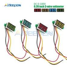 Voltmètre numérique 0-0.28 V DC, 100 pouces, testeur de tension pour voiture, détecteur, 12V, rouge, vert, bleu, jaune