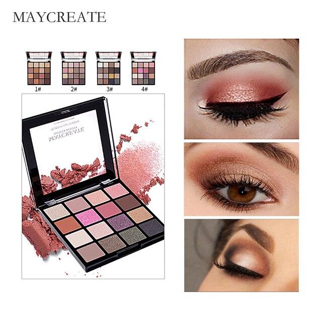 Maycreate 16 Цвета модные очаровательные палитра теней Матовая Shimmer Eye Shadow блеск глаз тени составляют порошок