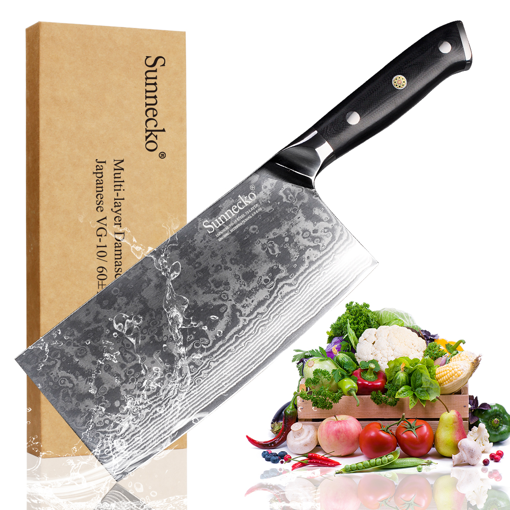 "SUNNECKO 7 ""inches Cleaver Hakmes Damascus Staal Nieuwe Hoogwaardige Chinese Snijmessen VG10 Chef Koken Chopper"
