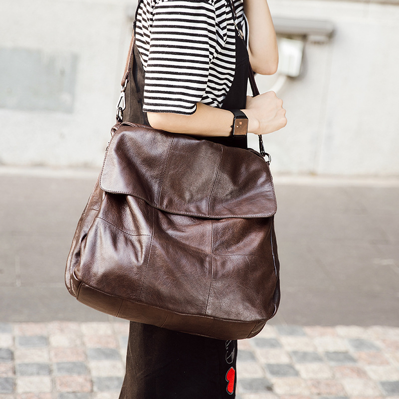 2018 Women Genuine Leather Brown Handbags Brown Cow Leather Bag Lady Crossbody Messenger Shopping Casual Bags lignt brown stitching design crossbody bags