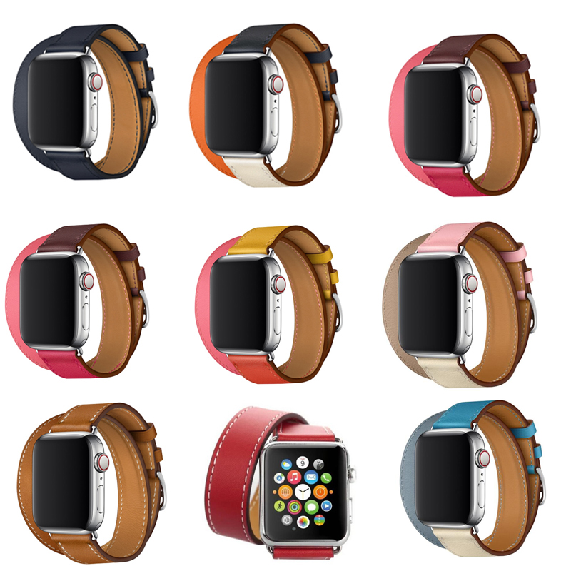 New Leather Strap For Apple Watch Hermes Double Tour Band  44mm 40mm 42mm 38mm Watchband Wristband For Iwatch Series 5 4 3 2 1