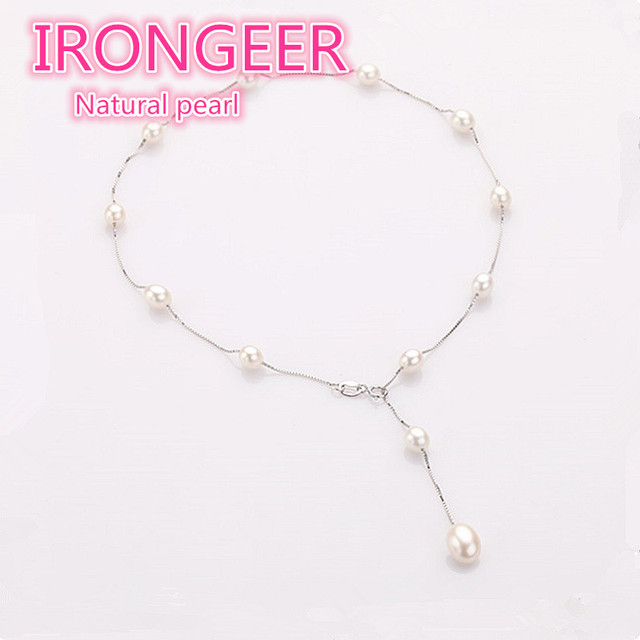 Fashion Pearl Necklace 925 sterling-silver-jewelry Pearl Jewelry 7-8mm top  Natural Freshwater Pearl Choker Necklace  For Women