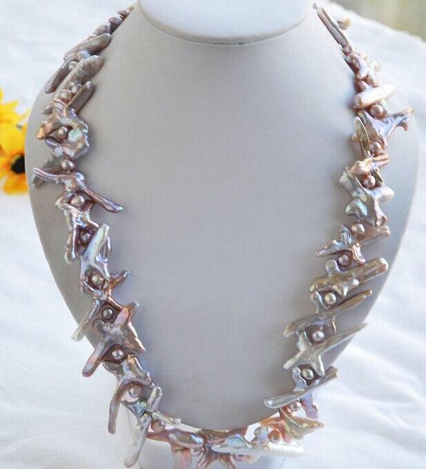 Xiuli 002260 croix de lavande BAROQUE KESHI REBORN collier de perles