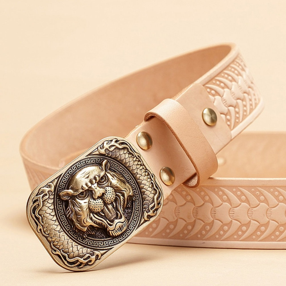 FAJARINA Top Quality Men's Retro Styles Belts Brass Tiger Smooth Buckle Novelty Unique Design Belt for Men Leather Male MFJ14
