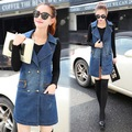 Fashion Women Denim Vest Fit Double Breasted Long Sleeveless Spring Jacket Chaquetas Mujer Outwear Abrigos Vests Femme Plus Size