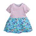 Bebés del verano se visten, impreso rayas vestido de la manera, niños del algodón se viste, ropa de los niños ocasionales, al lado de ropa estilo (1-6 años)