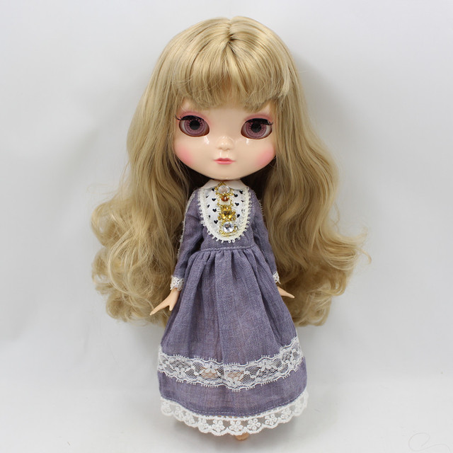 Small chest Joint azone body ICY nude doll 30CM blond curly hair No.230BL3227 free shipping Fortune Days F&D