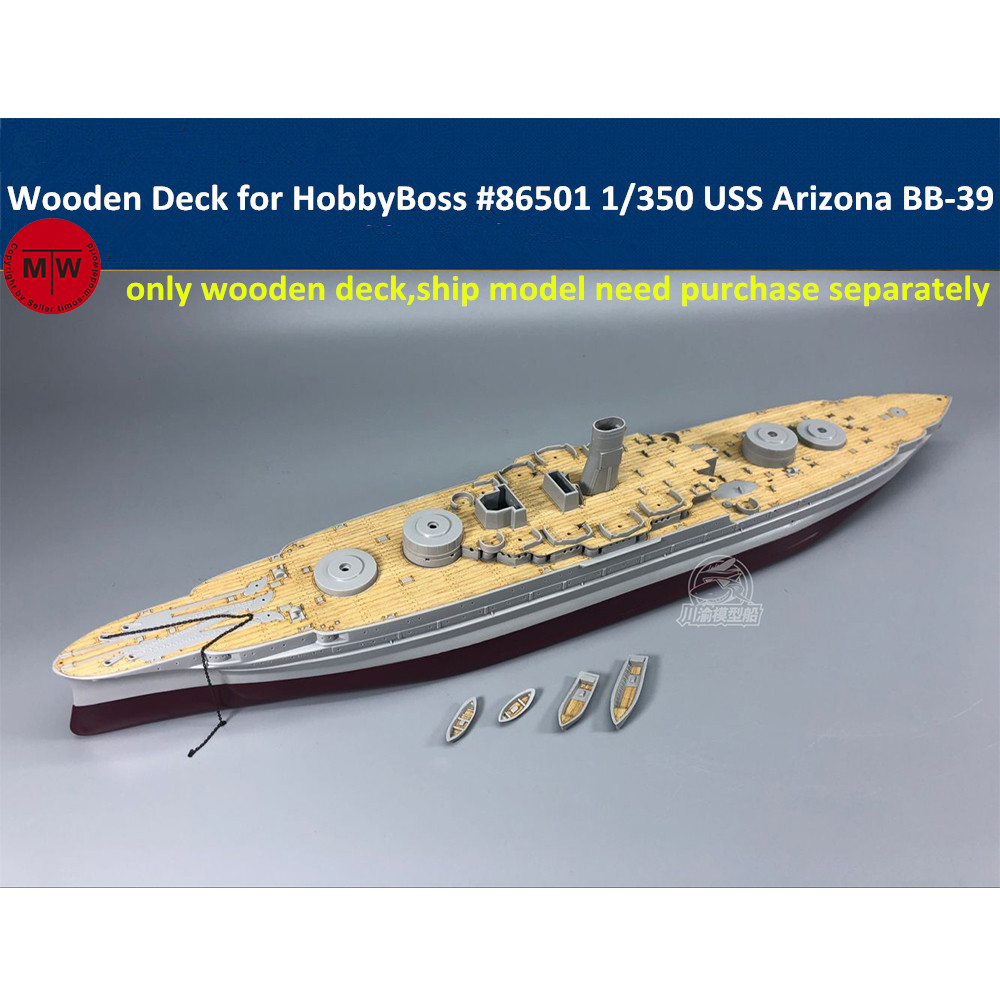 1//350 Scale German Bismarck Battleship Wooden Deck Model Kit w// Anchor Chain
