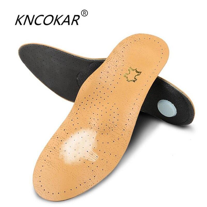 KNCOKAR 1 para Hohe qualität Leder orthesen Einlegesohle für Flache Fuß Arch Support orthopädische Silikon Einlegesohlen für männer und frauen