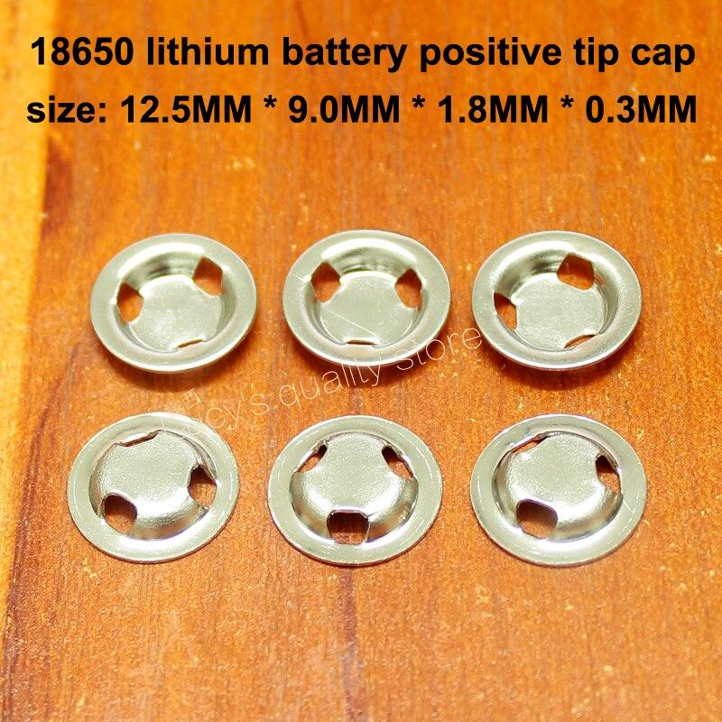 50 pçs/lote 18650 bateria de lítio ponto positivo ponta solda tampa plana positivo orelha três buraco ponta tampa bateria acessórios