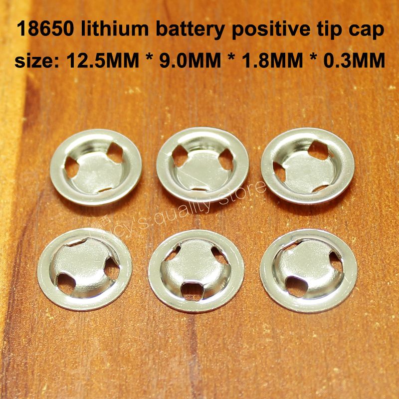 50pcs/lot 18650 Lithium Battery Positive Spot Weld Tip Flat Cap Positive Ear Three Hole Tip Cap Battery Accessories Replacement Parts & Accessories