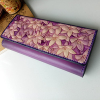 Handmade Violet Noble Wallets Original Design Carving Flower Purses Women Long Clutch Vegetable Tanned Leather Wallet Gift
