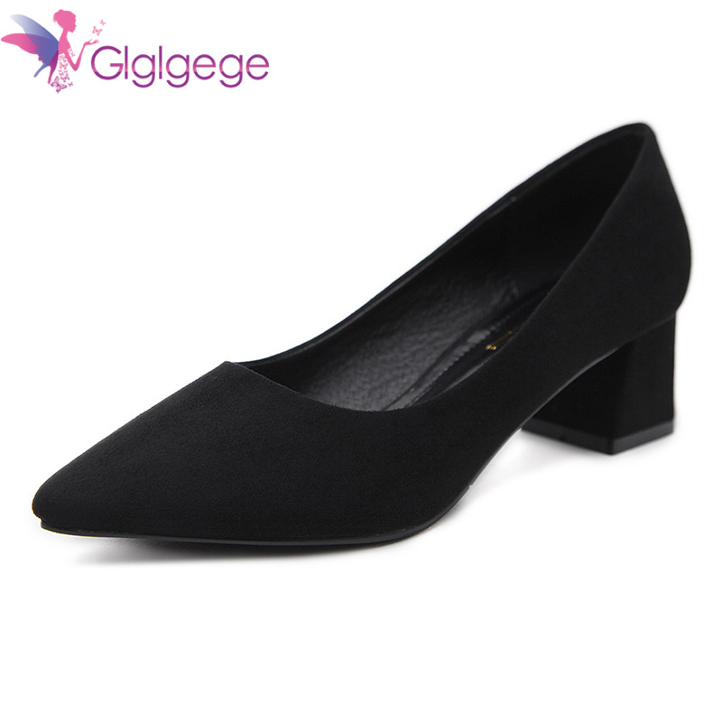 Glglgege 5 Colors Pointed Top Strappy Pumps Med High Thick Heels Flock Shoes 2108 New Woman Shoes Female Office & Career Shoes