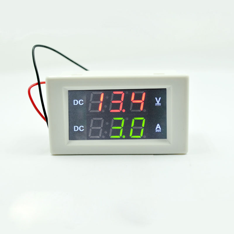 DC 300V 50A  Digital Voltmeter Ammeter DC VOLT AMP Tester Gauge with red and green Led  no shunt With back cover 0.39