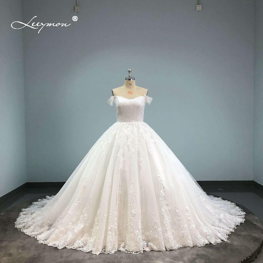 ≧Leeymon envío libre 2018 vestido de novia de encaje Appliques ...