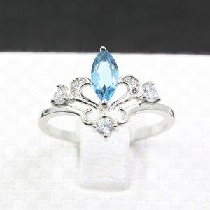 Image 2 - Anillo de compromiso de corona de plata 925 auténtica de 100%, anillo de topacio natural de 4 mm X 8mm, anillo de topacio de plata 925 sólido, regalo para niña