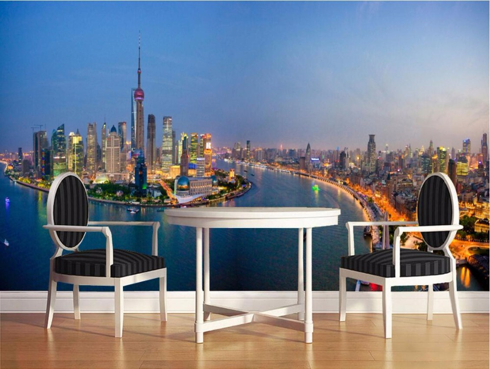 3d room wallpaper custom mural The Oriental pearl city at night decoration painting 3d wall murals wallpaper for walls 3 d queen a night at the odeon