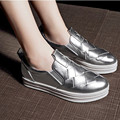 2016 New Brand Leather Women Shoes Autumn Slip On Ladies Shoes Casual Silver Shoes For Women Platform Shoes Woman