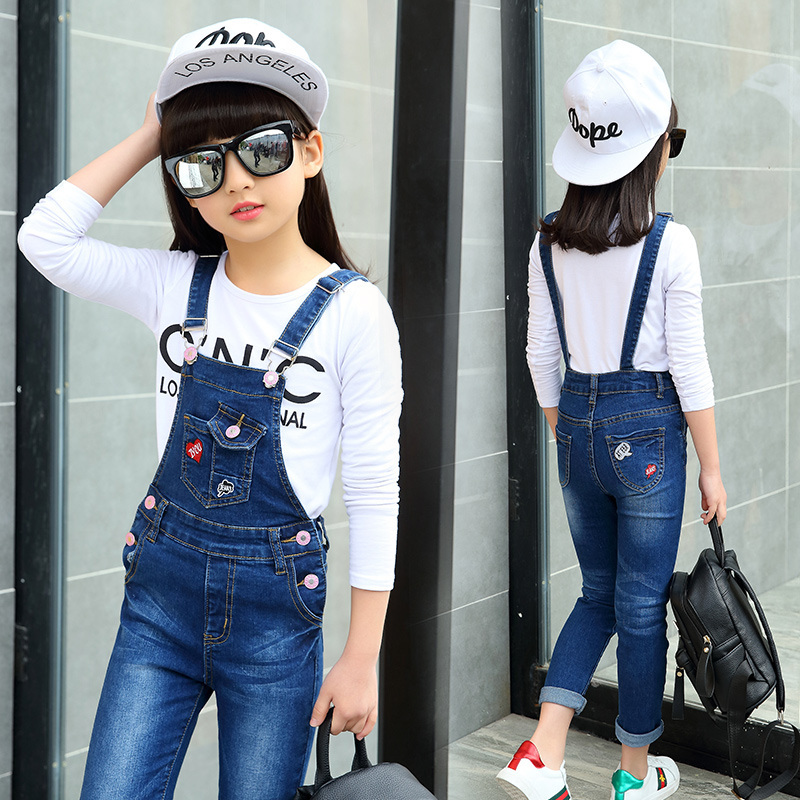 2017 New Spring Autumn Kids Baby Girls Denim Jeans Pants Infant Denim Girls Overalls Jumpsuit Lovely Jeans Overalls Teenagers chicd hot sale skinny jeans woman autumn new pencil jeans women fashion slim blue jeans mid waist denim pants plus size xp135