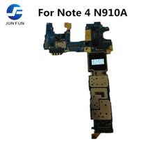 Jun diversão original desbloqueado para samsung galaxy note 4 n910a placa mãe, para nota 4 n910a mainboard com sistema android