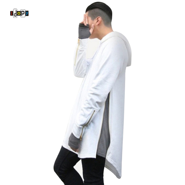 Hi-Street Mens Hooded Sweatshirt Fashion Hip Hop Extended Long Arc Cut Hoodie With Side Zipper For Hipster
