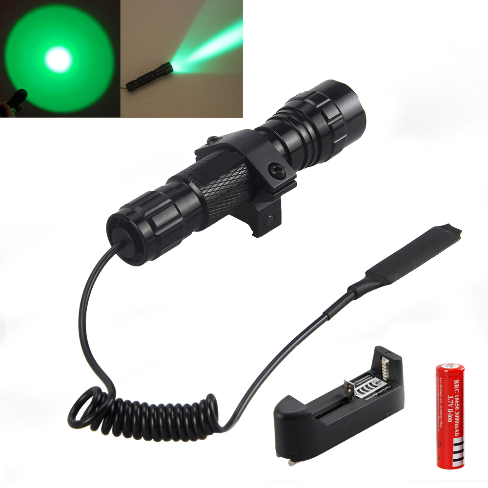 Tactical 3000Lm Q5 Green LED 501B Flashlight Torch Light Hunting 18650 Battery spro necton atx green 3000