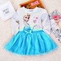 2-7 años chicas ropa otoño princesa Elsa dibujos animados de manga larga niñas navidad embroma la ropa Meninas Vestidos