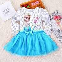3-8 anos meninas roupas outono princesa elsa vestido de manga longa dos desenhos animados meninas vestido de natal crianças roupas meninas vestidos