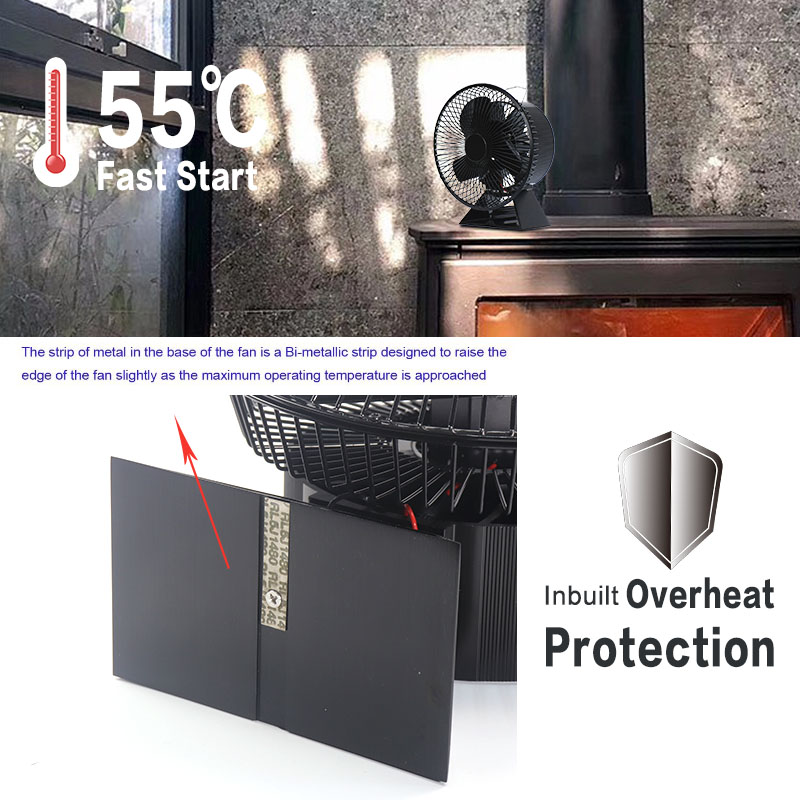 VODA Heat Powered Stove Fan with Protective Cover
