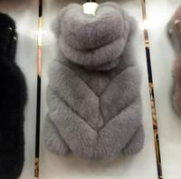 European British Style genuine fox fur vest gilets for women Wholesale Natural fox fur vest waistcoat