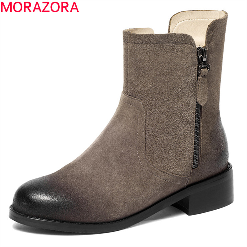 MORAZORA 2018 high qulity suede leather ladies boots round toe zip ankle boots for women fashion short plush autumn winter boots women genuine leather spring autumn ankle boots short plush inside for winter short boots fashion round toe boots 6